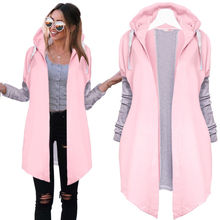 Casual Lady Long Tunic Hoodies Sweatshirt Coat Zip Outerwear Hooded Jacket Pink Blue Sleeve Autumn Clothing - Best time to meet you ! store