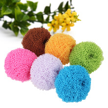 4PCS Factory Direct Sponges & Scouring Pads Korea Exquisite Kitchen Supplies Colorful Useful Cleaning Nano Fiber Washing Ball