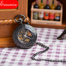 Fashion Luxury Vintage Black Engraved Case Men Mechanical Pocket Watch With Chain Hand-Winding Best Gift Pendant Necklace Hot