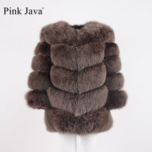 pink java QC8066 high quality women real fox fur coat wihter warm thick fox fur jacket genuine fur short coat long sleeves(China)