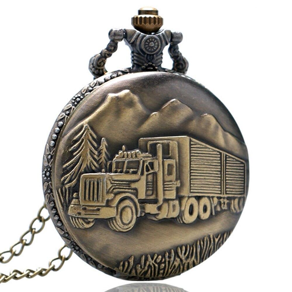 Full Hunter Bronze Unisex Pocket Watch Men Women Vintage Necklace Pendant Quartz Watch Clock Ship from USA Mini Clock Gift Watch (3)