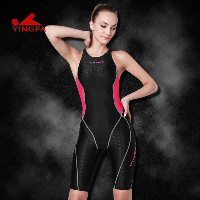Yingfa professional competition swimsuit women girls one piece swimwear kids training swimwear racing sharkskin knee swimsuit<br><br>Aliexpress