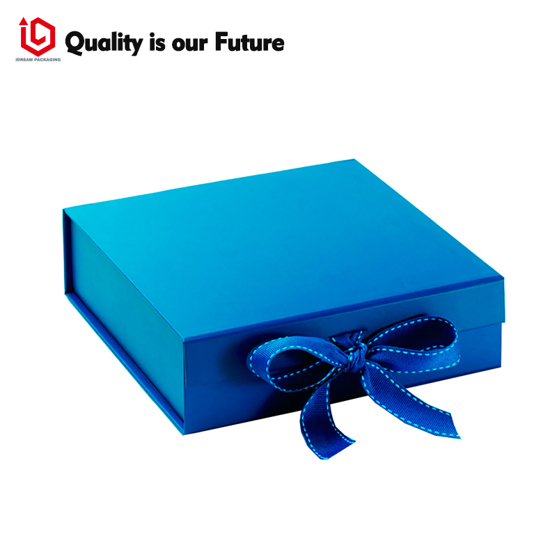 Blue Hinged Lid Paper Wedding Box