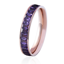 Top Quality Titanium Steel 4 Colors Semi-circle Quartet Crystal Ring Woman Luxury Jewelry Ring Wholesale Good Gift For Holiday