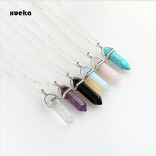 Fashion Hexagonal Column Necklace Natural Crystal Pendants Pink 6 colors Stone Necklaces Chains Pendant For Women Jewelry(China)