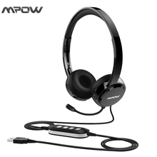 Mpow Bluetooth stereo headphones Wired headphones with Mic USB Headset Stereo Audio Noise Reduction Sound Card for Skype Calls(China)