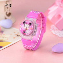 FD Fashion Cartoon Jelly Clamshell 3D Children Sports Watch LED Light Mickey Silicone Digital Wristwatch for Girls Boy Kids Gift
