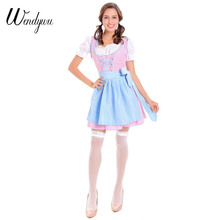 Wendywu Hot Cute Beer Girl Cosplay White Top Pink Plaid Mini Dress Costumes with Blue Apron