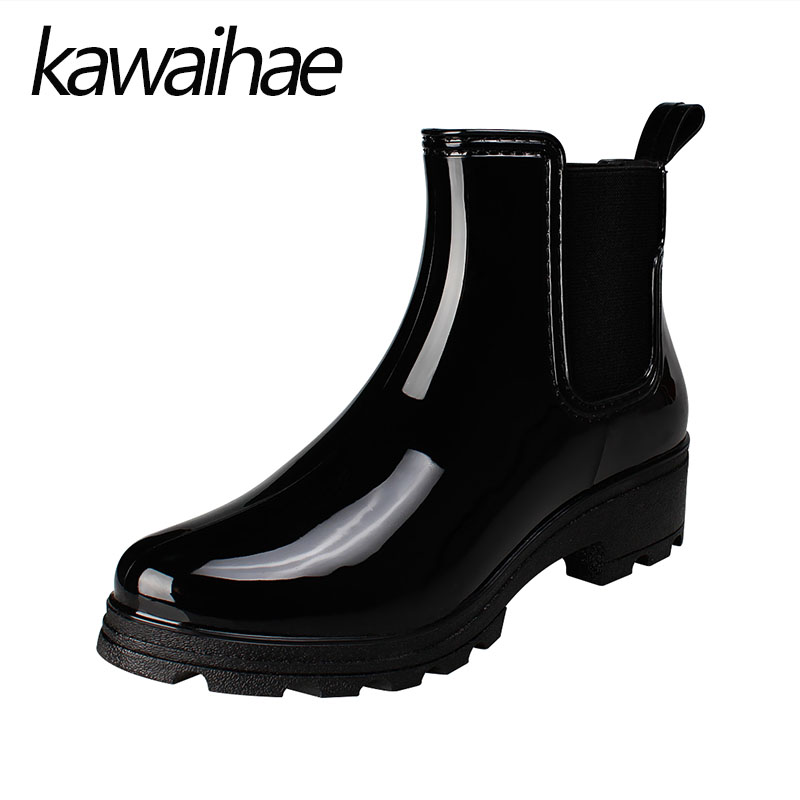 Pointed Toe Rubber Shoes Rain Shoes Female Waterproof Rain Boots Women Boots Kawaihae Brand Martins 610G<br>