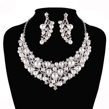 Bridal Jewelry Sets Wedding Necklace Earring For Brides Party Accessories Silver Plated Pearl Jewellery Christmas Gift For Women