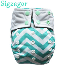 [Sigzagor]]1 Newborn ALL IN ONE Pocket Cloth Diaper Nappy,Baby Sewn Charcoal Bamboo Insert,AIO,Double Gussets,8-10lbs 15 Choices