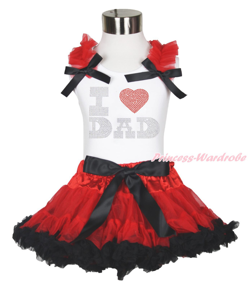 Fathers Day I LOVE DAD White Top Red Black Pettiskirt Girl Clothing Set 1-8Year MAPSA0612<br>