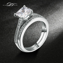 Silver Color Bijoux Fashion Wedding & Engagement Ring Set AAA+ Cubic Zirconia Jewelry For Women As Chirstmas Gift DFR605