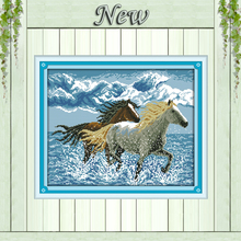 Two Running horses animal Counted printed on the fabric DMC 14CT 11CT Cross Stitch DIY Needlework kits Embroidery Set Home Decor