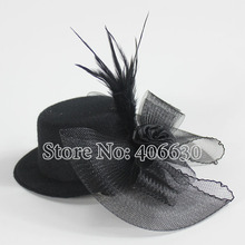 "5"" Mini Top Hats Women Feather Accessories For Hair Fascinators clipped with Net 12pcs/lot Free Shipping MFF13-034"