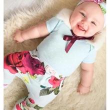 New Design 2017 Newborn Baby Girl Clothes Floral T Shirt+Pants+Headband 3Pcs Outfits Set china clothing factories menina