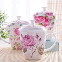 Royal Large Bone China Mugs Tea Cups Flowers Art Supplies personalized Caneca Criativa Outdoor Eco-friendly Mugs With Lid QQB764(China)