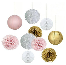 Set of 10pcs White Pink Gold Party Decoration Tissue Paper Pom Pom Honeycomb Ball and Paper Lantern  Birthday Wedding Decoration