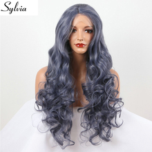 sylvia Titanium Grey Body Wave/Curly Wave hairstyle Synthetic Lace Front Wig blue glueless heat resistant fiber hair for woman