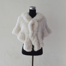 SJ1004-01 Beijing Fashion Show Popular Rabbit Knitted Poncho/100% Real Fur