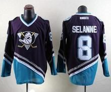 Cheap Men's New Mighty Ducks Movie Jersey CCM #8 SELANNE Ice Hockey Jersey Purple Color Best Quality free shipping can custom