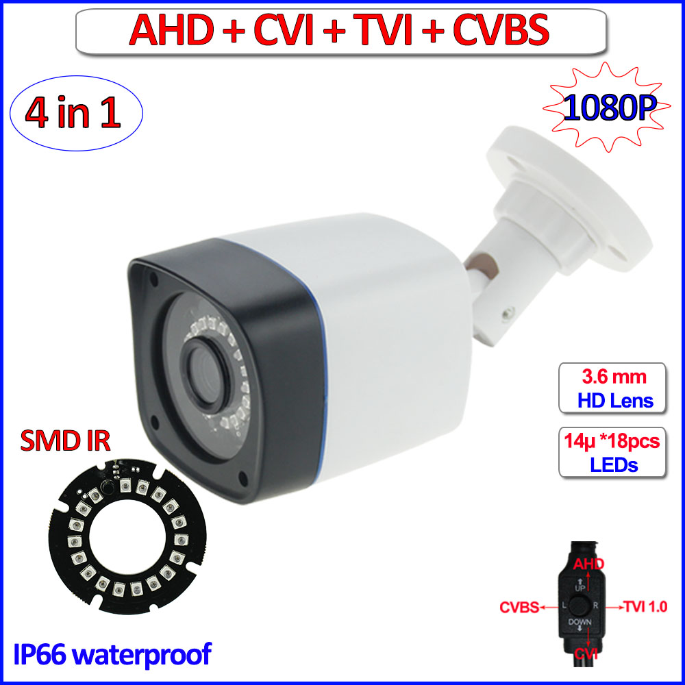HD Analog cctv outdoor camera 1080P AHD H L CVI TVI security Camera, 960H, OSD menu, 18pcs LEDs, HD Lens, DWDR, + free bracket<br>