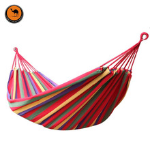 Portable Outdoor Hammock 200*80cm Camping Garden Beach Travel Canvas Hammock Hanging Swing Bed Rainbow Colors(China)