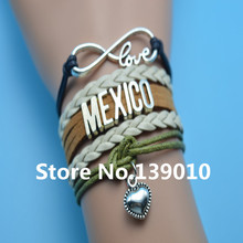 Infinity Love Mexico Heart Bracelets Beige Brown Black Green Leather Suede Rope Customize Women Men Football Team Sports Bangles(China)