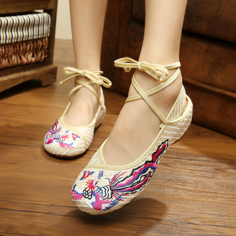 New Phoenix embroidery flax gray retro fashion Chinese style ladies shoes ladies free shipping casual flats shoes for women<br><br>Aliexpress