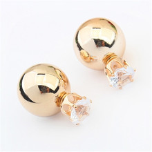 European Brand Jewelry New Fashion Gold Silver Plated Two Side Double Ball Pearls Stud Earrings For Women