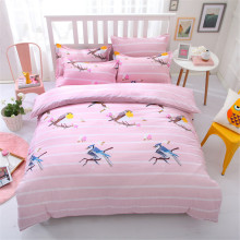 birds cartoon comforter set queen size kids 4/5 pcs girls pink stripes doona duvet/quilt cover king twin bed coverlet decor