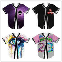 KEENEST Mens Buttons Homme 3D Shirt Streetwear Tees Shirts Hip Hop Custom Made Baseball Jersey(China)