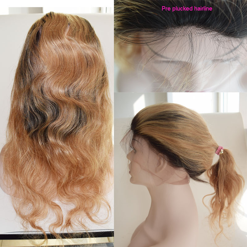 360 Lace Frontal Closure Dark Roots Honey Blonde Body Wave T1B/27 Brazilian lace frontal Human Hair Baby Hair Natural Hair Line<br><br>Aliexpress