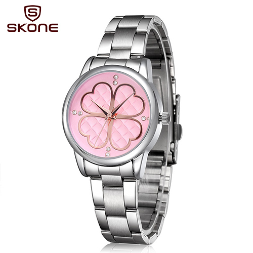 SKONE Brand Womens Watches Fashion Casual Full Alloy Quartz Wristwatches for Women Clover Grid Rhinestone Dial Watch Waterproof<br><br>Aliexpress