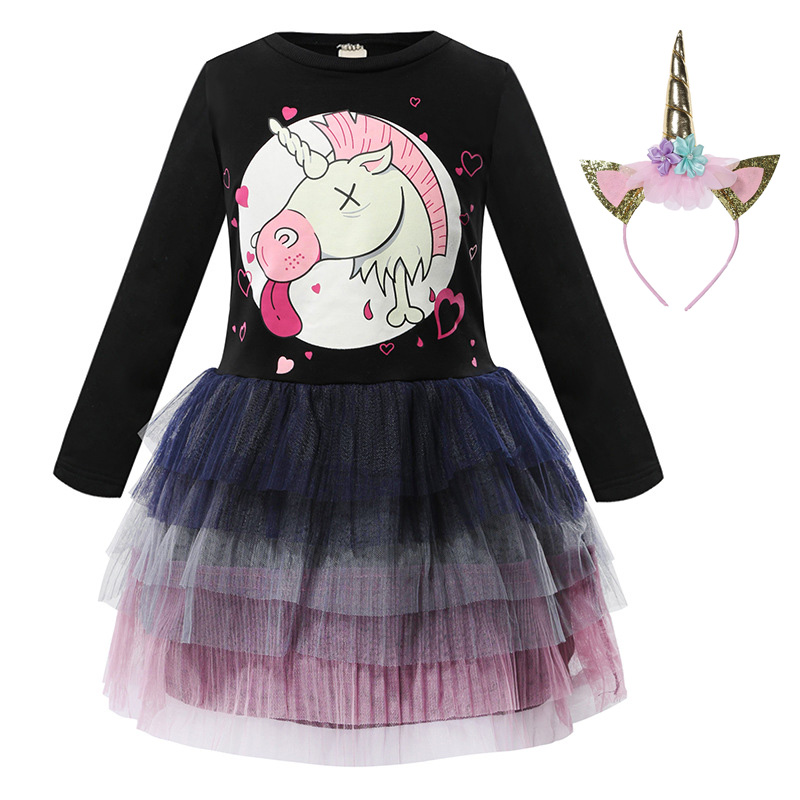 Girls Princess Dresses Cartoon Printed Baby Long Sleeve Kid Infant Party Clothes
