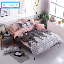 BEST.WENSD Blue pink gray cartoon-Simple size 4pcs Bedding sets Cotton duvet cover sets Double-Single-kids bedspread bedclothes(China)