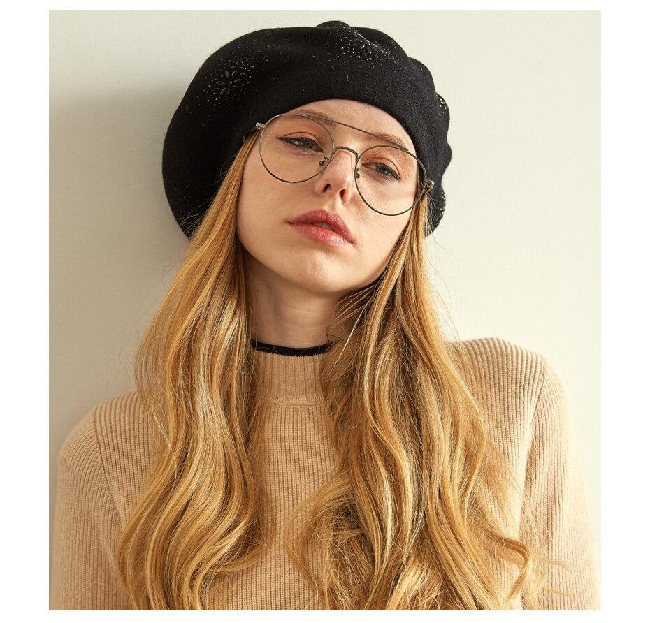 VIANOSI Wool Beret Female Winter Hats For Women Flat Cap Knit Cashmere Hats Lady Girl Berets Hat Female 16