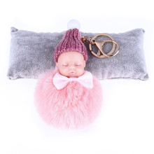 New Cute Sleeping Baby Doll Plush Toy Pompom Rabbit Fur Ball KeyChain Women Holder Bag Pendant Baby Toy Charm Accessories(China)