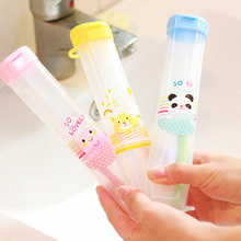 1pcs Cute Cartoon clean tidy kid toothbrush protect bath toothbrush holder case camping portable cover travel hiking box tube(China)