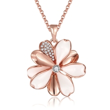Hot Sell 18kgp gold Colour Flower Necklaces Pendants with High Quality Cubic Zircon For Women Birthday Gift(China)