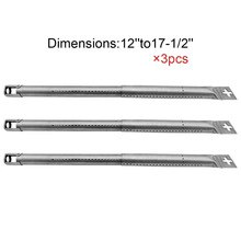 Adjustable BBQ Stainless Steel Gas Grill Burner Replacement for Most Gas Grill 42204 (3-Pack) 17-1/2-in Stainless Steel burners
