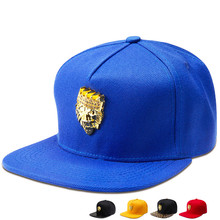 Bling Lion head crown Rhinestone baseball caps Gorras PU Leather Visor snapback hat men women Sports cotton hip hop hats(China)
