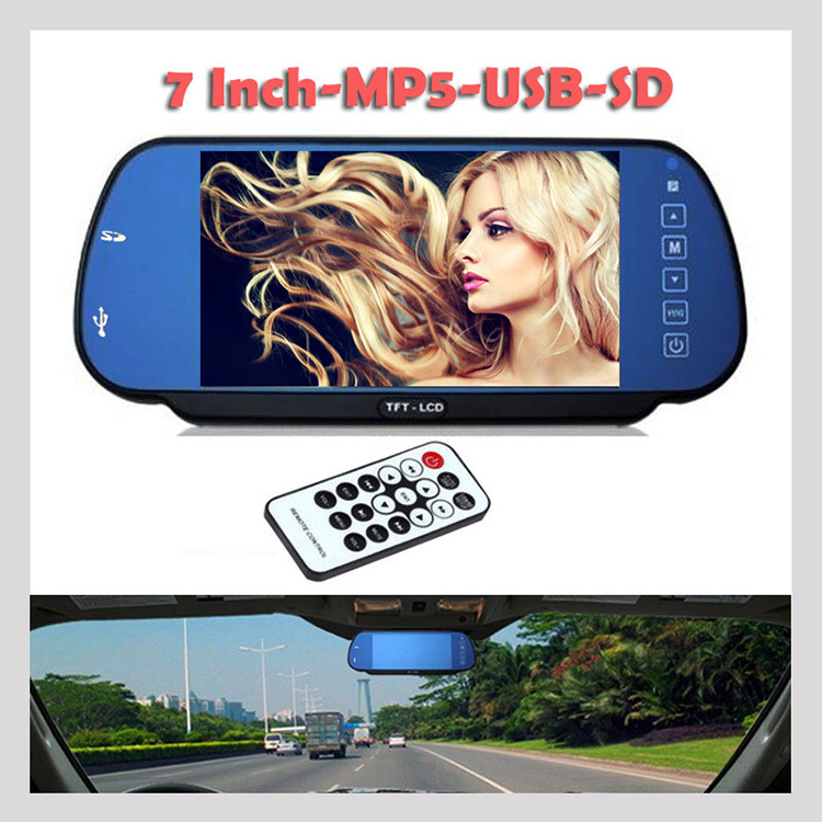7 Inch TFT Bluetooth MP5 Rearview Mirror HD Digital Display with TF Memory Card USB Interface PZ710(China)