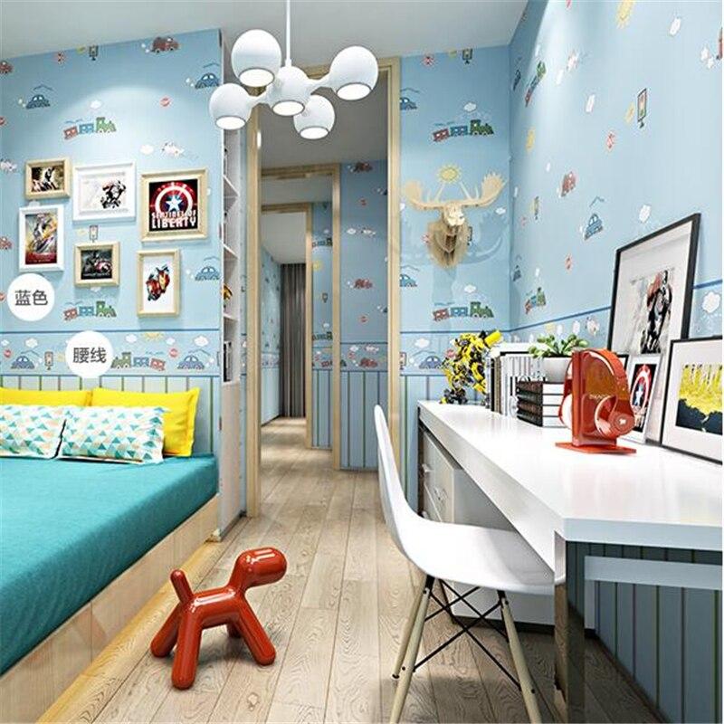 beibehang wallpaper High-grade environmental protection non-woven wallpaper girl boy room room striped wall paper car children <br>