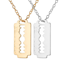 "Trusta 2017 New Man/Women Fashion Jewelry bright Gold Silver Style Blade Pendant 18"" Short Necklace Girl Boyfriend Gift EF96(China)"