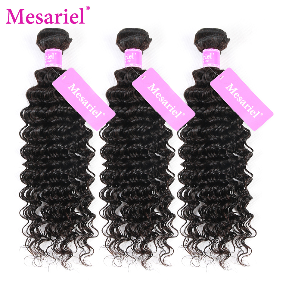 Mesariel Peruvian Deep Wave Virgin Hair Free Shipping 10-28inch Human Hair Weave Natural Black Color