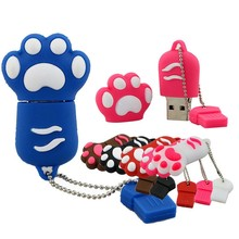 Free shipping 2017 promotional gifts custom cheap price 4GB 8GB 16GB Rubber paw shaped mini cute usb