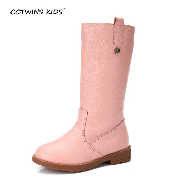 CCTWINS KIDS 2017 Winter Brand Black Toddler Pink Warm Baby Girl Genuine Leather Boot Children Knee High Embroidered Boot CH1348<br>