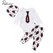 2017 Brand New Newborn Toddler Infant Baby Boy Rugby Tie Bodysuit Pants Leggings Hat 3Pcs Outfit Sets Long Sleeve Autumn Clothes(China)
