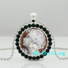New Angel Cameo Necklace White Cameo Crystal Pendant Glass Angel Jewelry Silver Ball Chain Necklaces